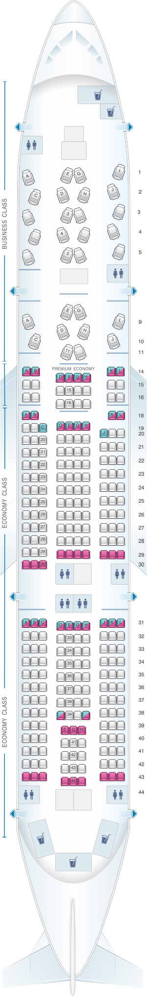 Seat map for Alitalia Airlines - Air One Boeing B777 200ER