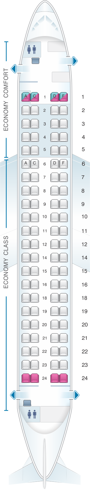 Seat map for Alitalia Airlines - Air One Embraer 175