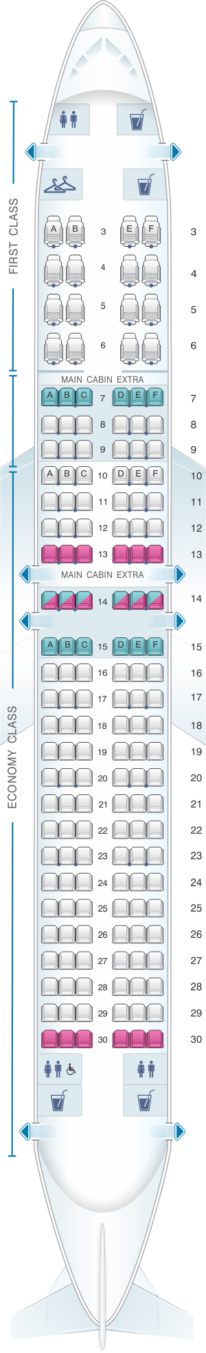 Seat Map For American Airlines Boeing B737 800