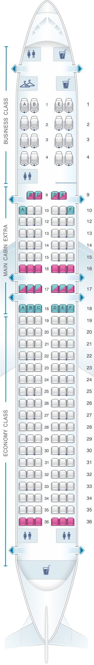 Seat map for American Airlines Boeing B757 200 176PAX