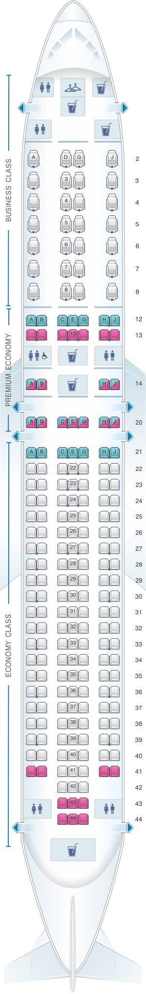 Seat map for American Airlines Boeing B767 300 retrofit