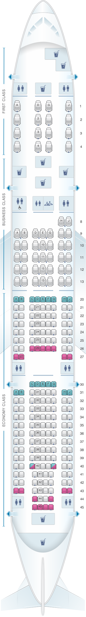 Seat map for American Airlines Boeing B777 200