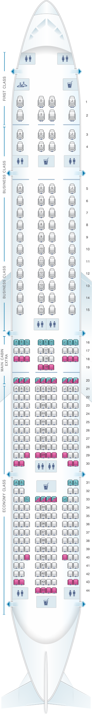 Seat map for American Airlines Boeing B777 300ER