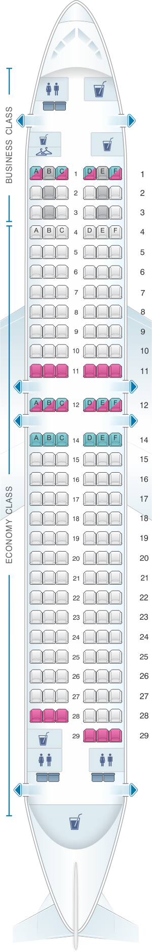 Seat map for AnadoluJet Boeing B737 800