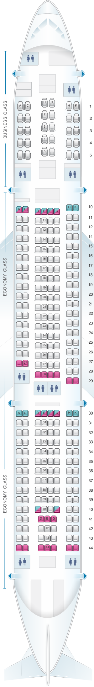 Seat map for Asiana Airlines Airbus A330 300 290PAX