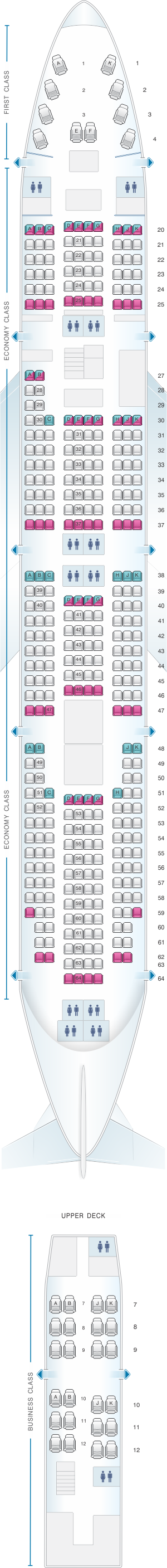 Seat map for Asiana Airlines Boeing B747 400 398PAX