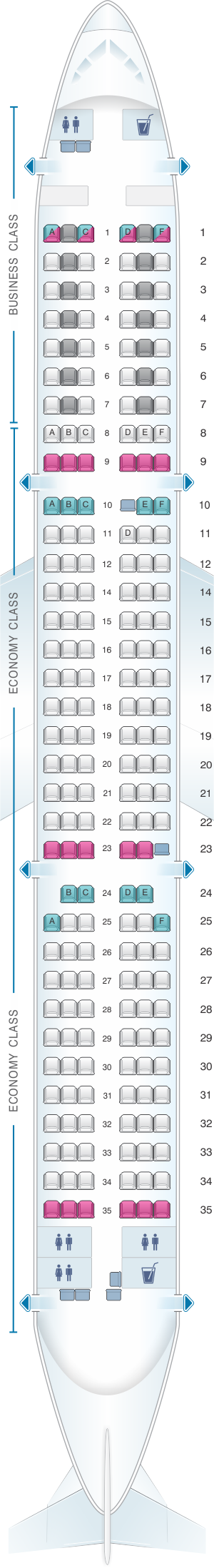 Seat map for Austrian Airlines Airbus A321 211