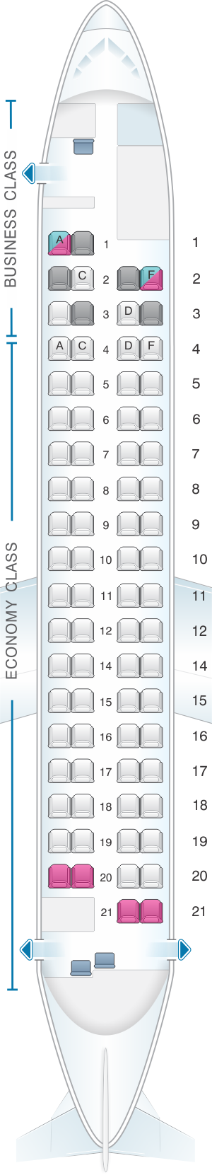 Seat map for Austrian Airlines Bombardier Q400