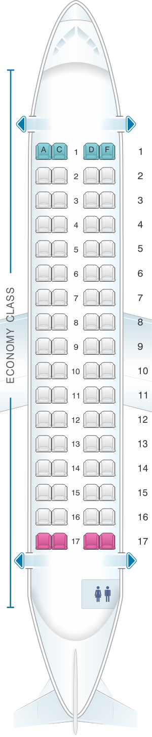 Seat Map Avianca ATR-72 | SeatMaestro Emer Seat Map on