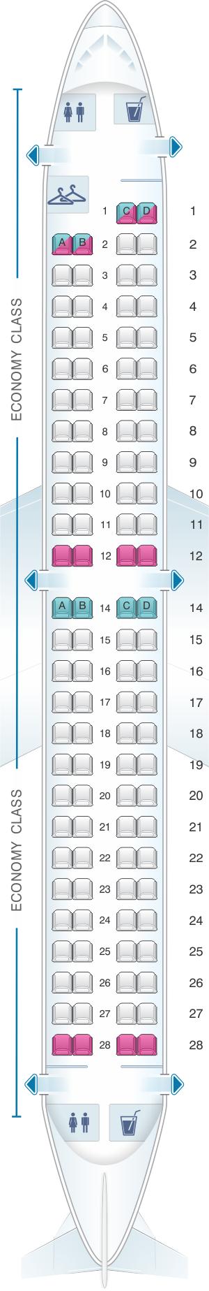 Seat map for Azal Azerbaijan Airlines Embraer ERJ 190 100