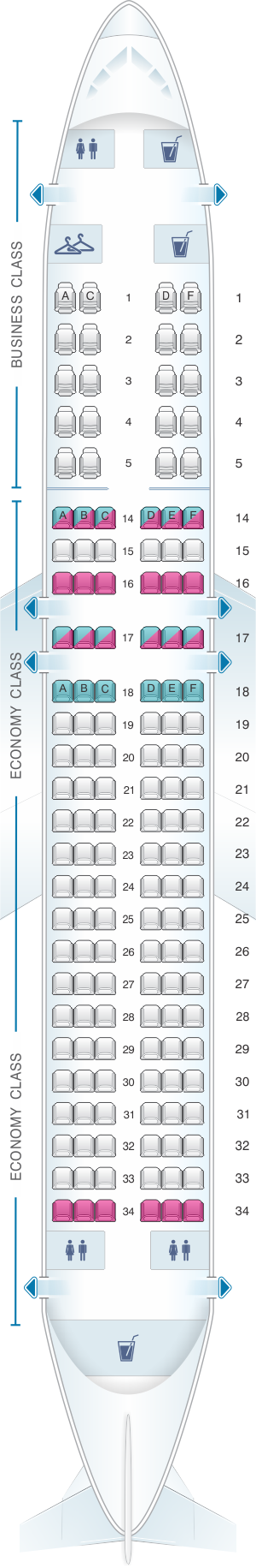 Seat map for Azal Azerbaijan Airlines Airbus A320