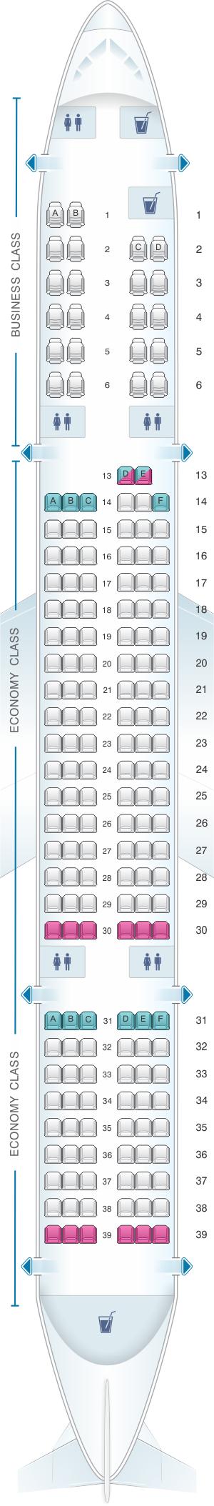 Seat map for Azal Azerbaijan Airlines Boeing B757 200
