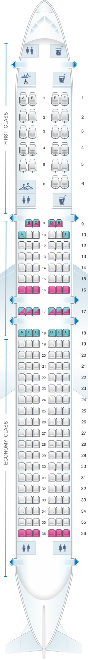 Seat map for American Airlines Boeing B757 Domestic
