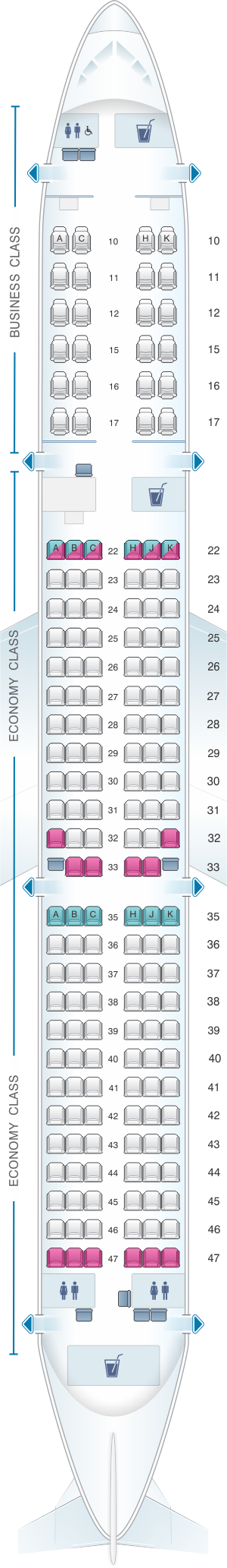 Seat map for Cathay Dragon Airbus A321 200