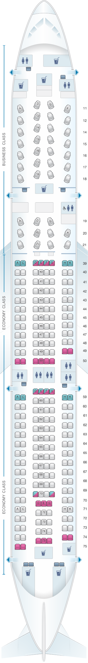 Seat map for Cathay Pacific Airways Airbus A330 300 (33E)