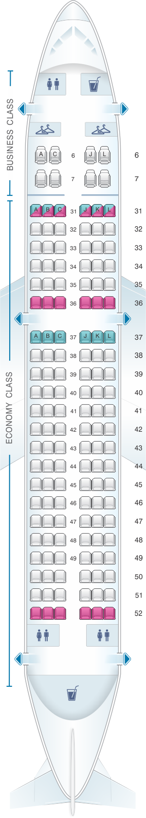 Seat map for China Eastern Airlines Airbus A319 100