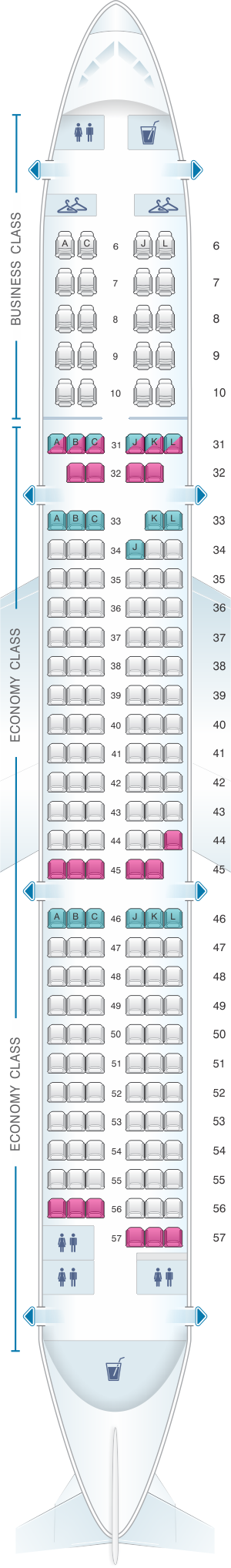 Seat map for China Eastern Airlines Airbus A321 200 175PAX