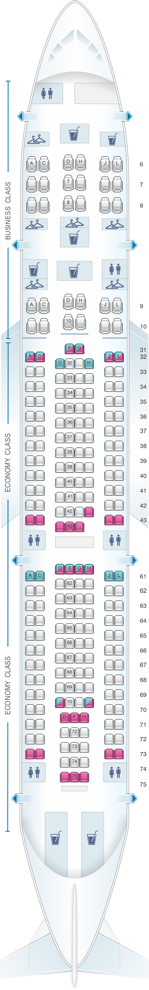 Seat map for China Eastern Airlines Airbus A330 200 234PAX
