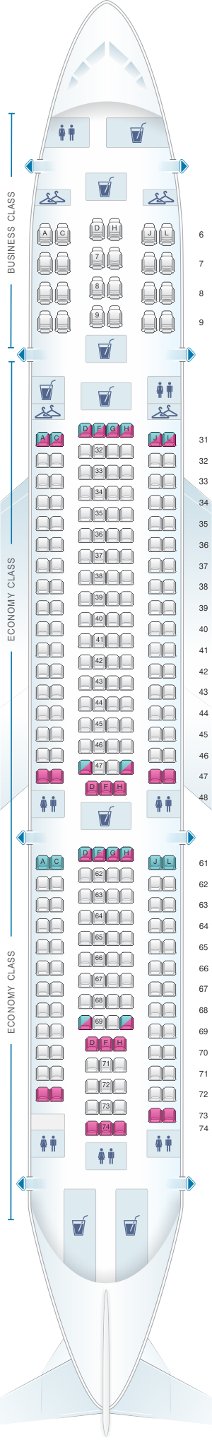 Seat map for China Eastern Airlines Airbus A330 200 264PAX