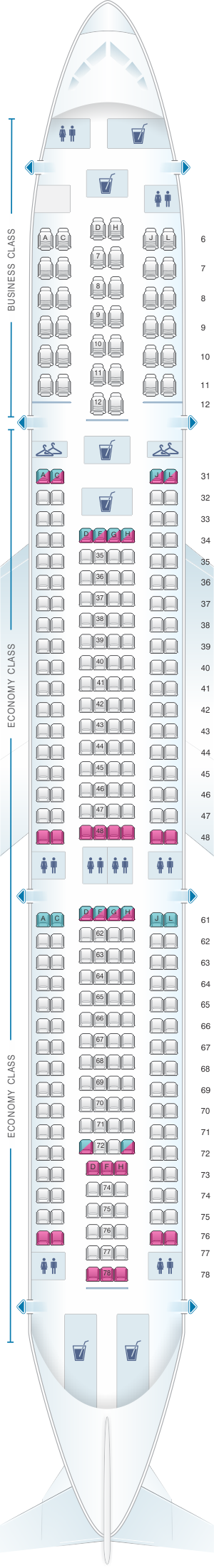 Seat map for China Eastern Airlines Airbus A330 300 300PAX