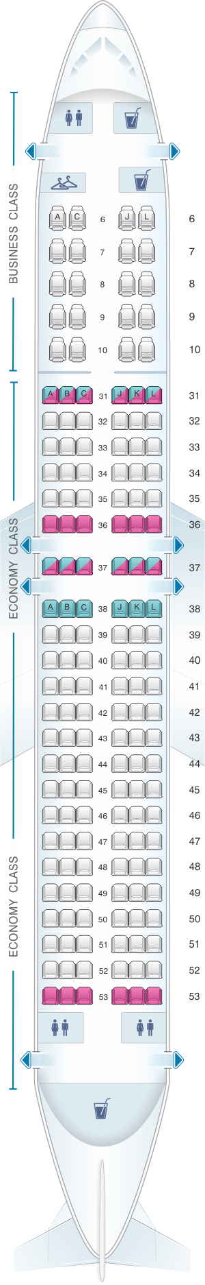 Seat map for China Eastern Airlines Boeing B737 800 158PAX