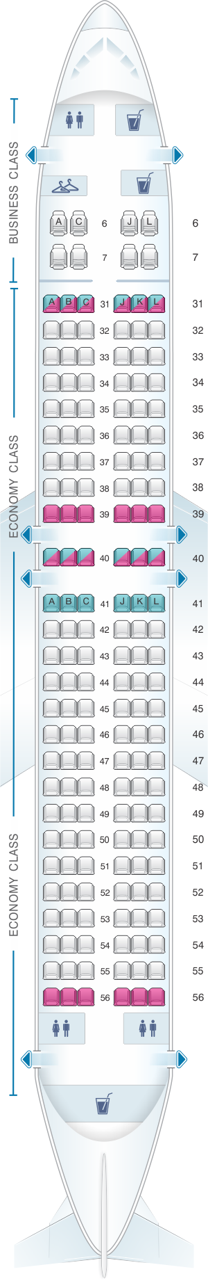 Seat map for China Eastern Airlines Boeing B737 800 164PAX