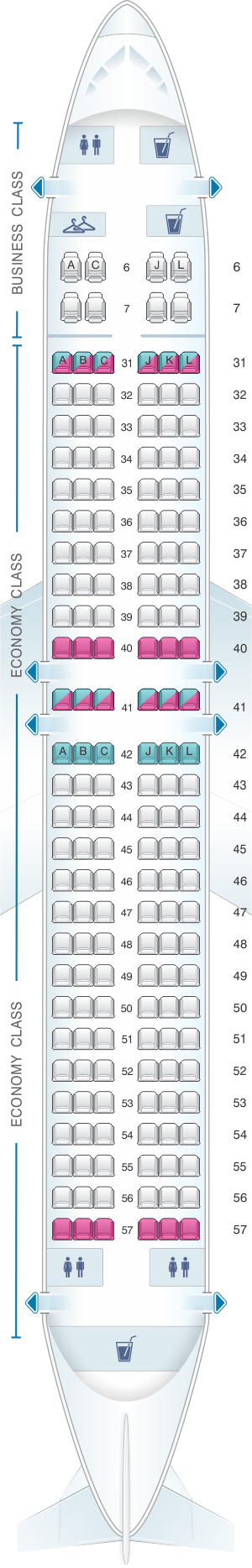 Seat map for China Eastern Airlines Boeing B737 800 170PAX