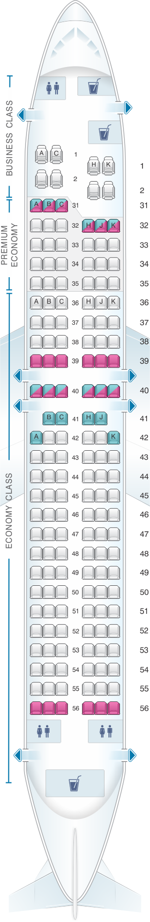 Seat map for China Southern Airlines Boeing B737 800 Layout C