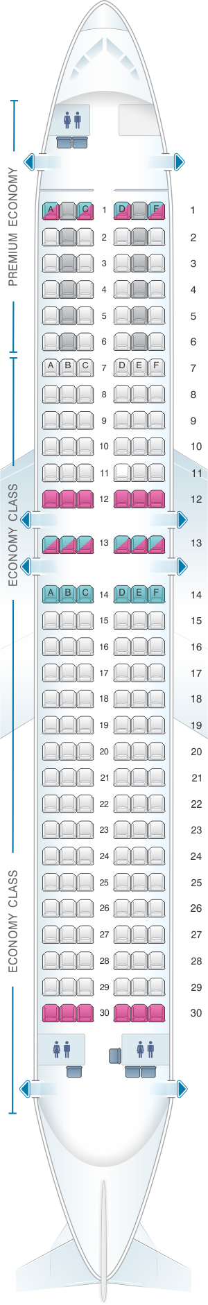 Seat map for Condor Airbus A320 200