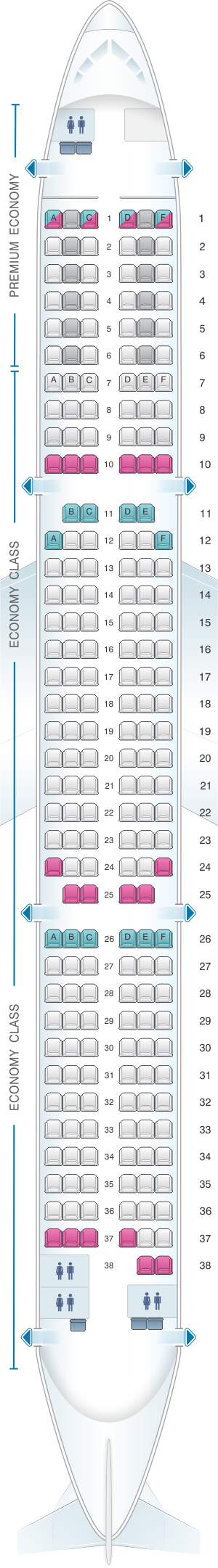 Seat map for Condor Airbus A321 200