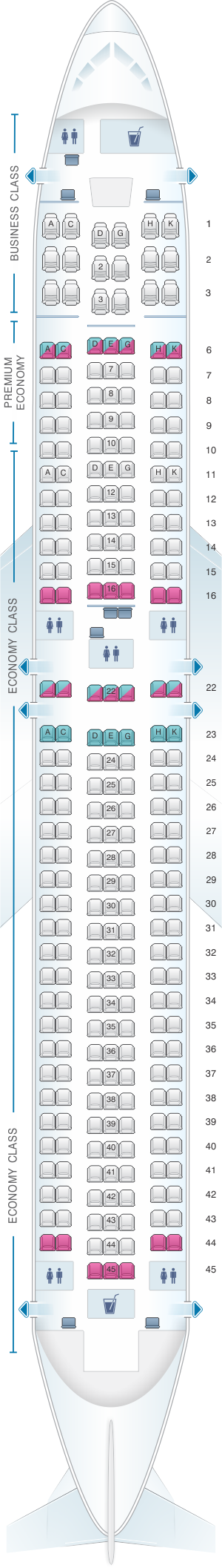 Seat map for Condor Boeing B767 300ER version1