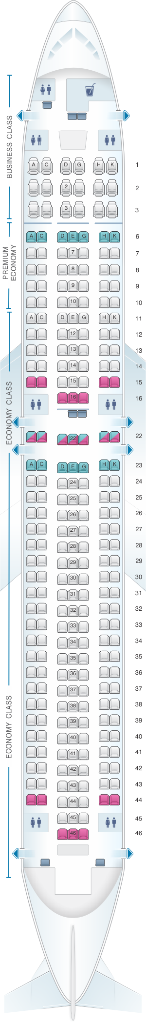 Seat map for Condor Boeing B767 300ER version2