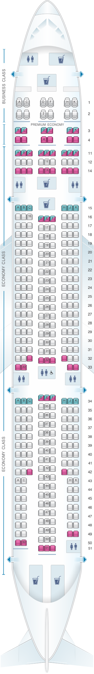 Seat map for Corsair Airbus A330 300