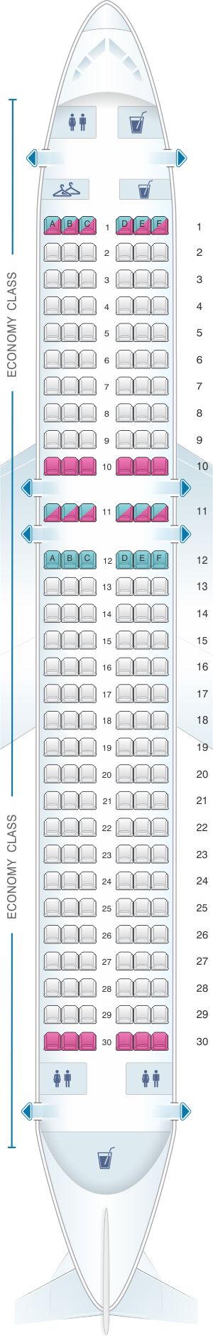 Seat map for Croatia Airlines Airbus A320
