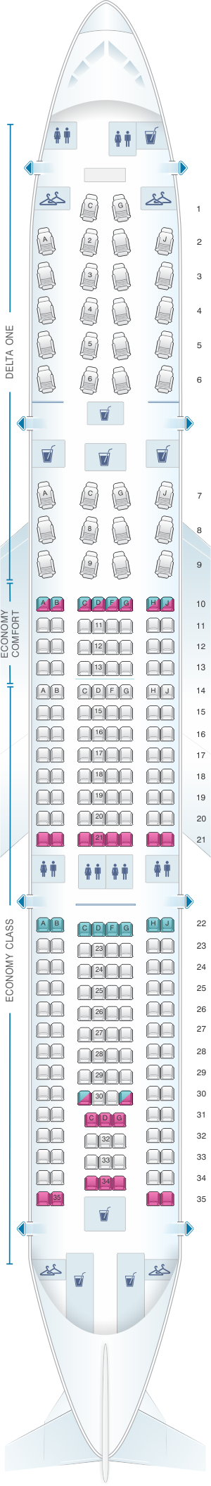 Seat map for Delta Air Lines Airbus A330 200 (332)