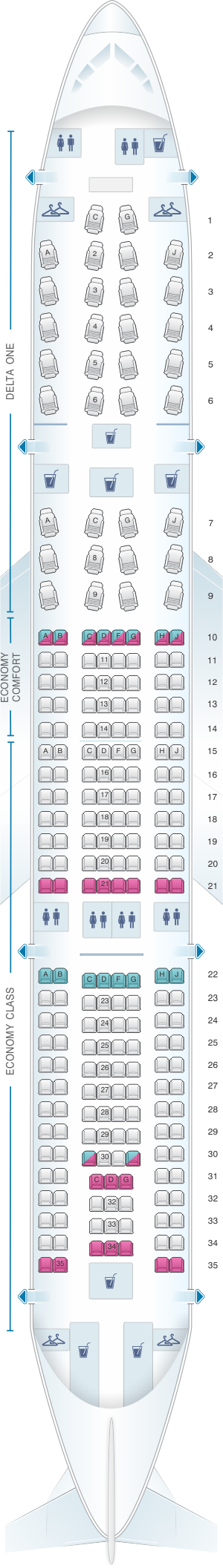 Seat Map Delta Airlines Airbus A330 200 332