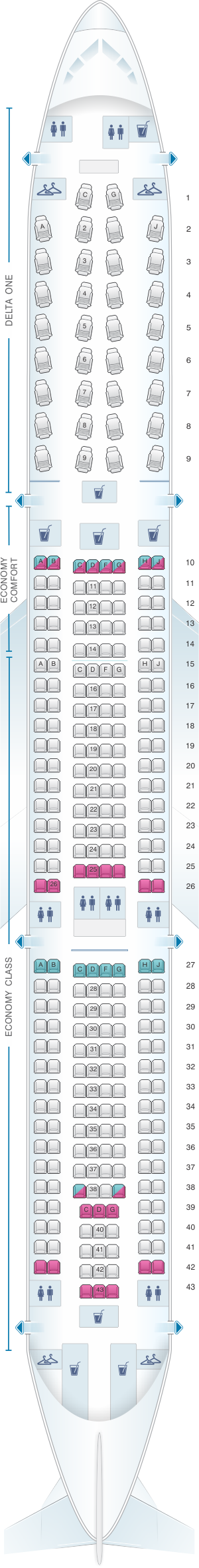 Seat map for Delta Airlines Airbus A330 300 (333)