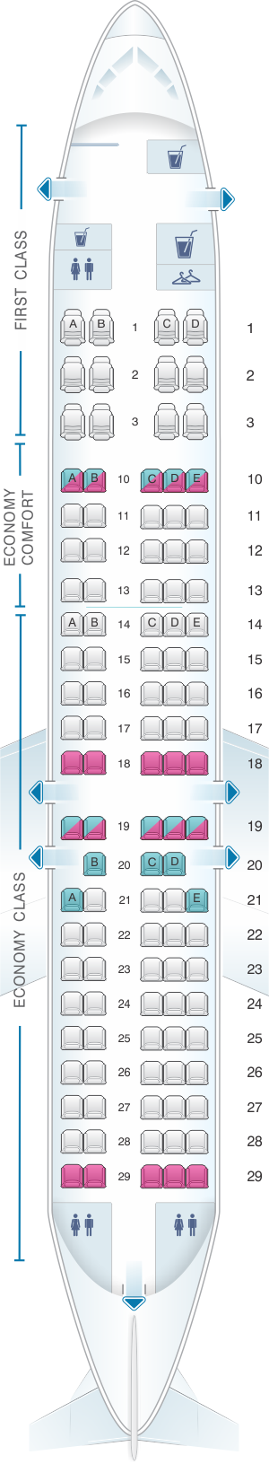 Seat map for Delta Air Lines Boeing B717 200