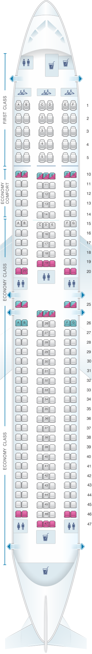 Seat map for Delta Air Lines Boeing B767 300 (76Q-76P)