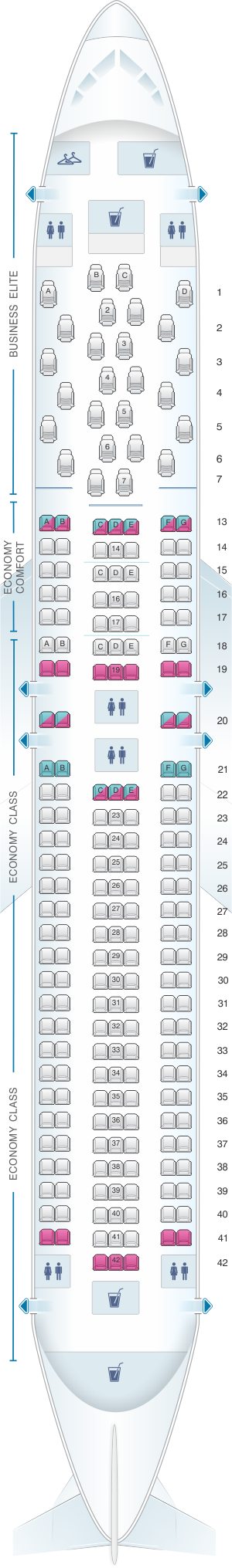 Seat map for Delta Air Lines Boeing B767 300ER (76Z V1)