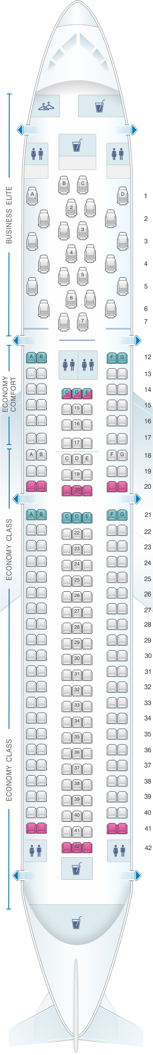 Seat map for Delta Air Lines Boeing B767 300ER (76Z V2)