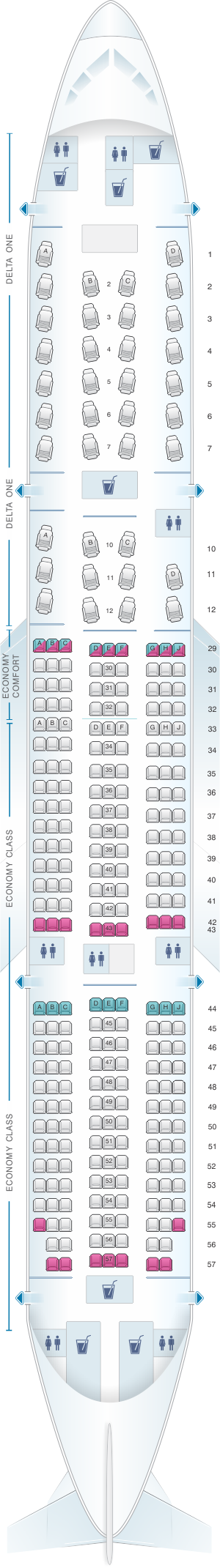 Seat Map For Delta Airlines Boeing B777 200er
