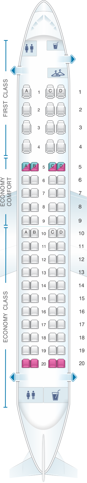 Seat map for Delta Air Lines Embraer E175 SkyWest/Republic