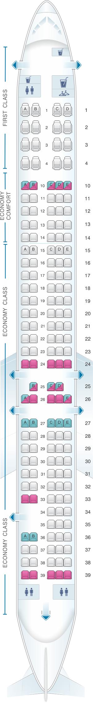 Seat map for McDonnell Douglas MD 90