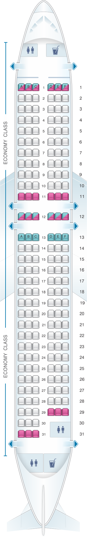 Seat map for Easyjet Airbus A320