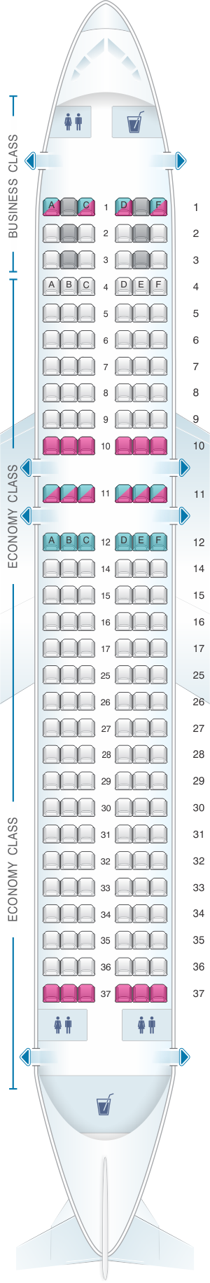 Seat map for Edelweiss Air Airbus A320 200