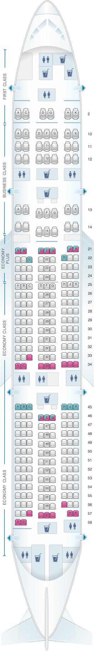 Seat map for El Al Israel Airlines Boeing B777 200ER