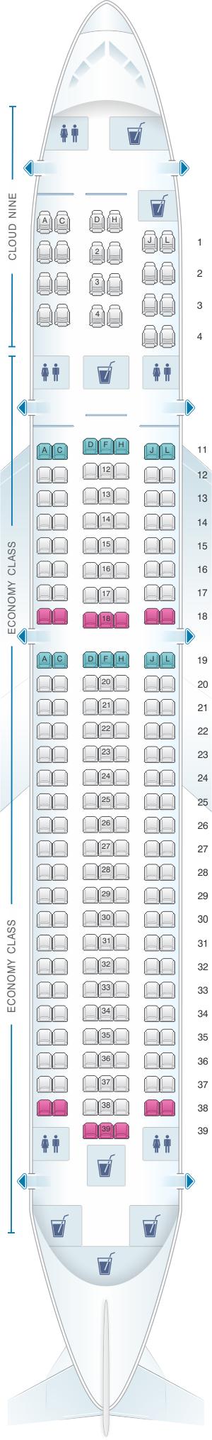 Seat map for Ethiopian Boeing B767 300ER