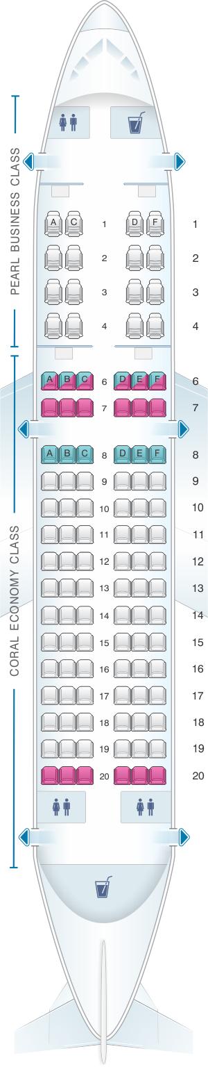 Seat map for Etihad Airways Airbus A319