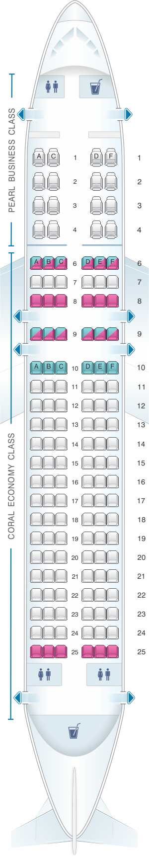 Seat map for Etihad Airways Airbus A320 200